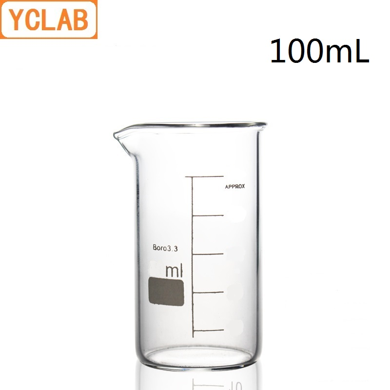 YCLAB 100mL Beaker Tall Form Borosilicate 3.3 Glass With Graduation And Spout Measuring Cup Laboratory Chemistry Equipment