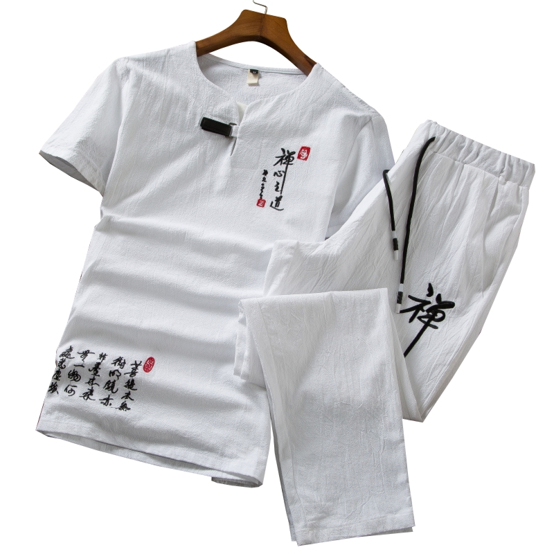 Chinese Character Embroidered Decorative Men's Short-sleeved Suit 6XL Seven Colors Select Mens Two-piece Set Pants Drawstring