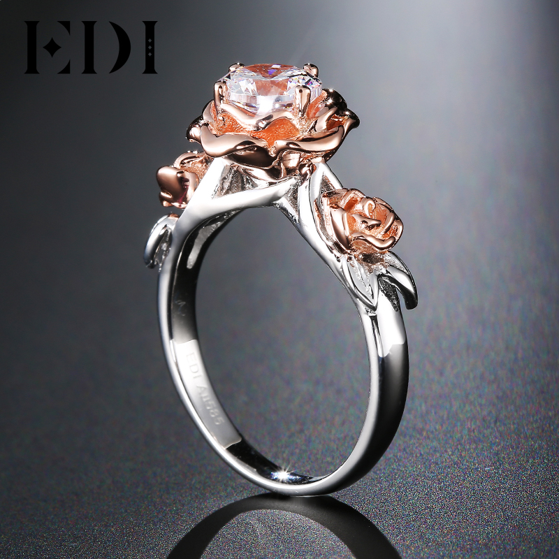 Edi genuine natural rose flower 1ct moissanite diamond wedding ring edi genuine natural rose flower 1ct moissanite diamond wedding ring 14k solid rose gold gemstone ring bridal fine jewelry in rings from jewelry junglespirit Image collections
