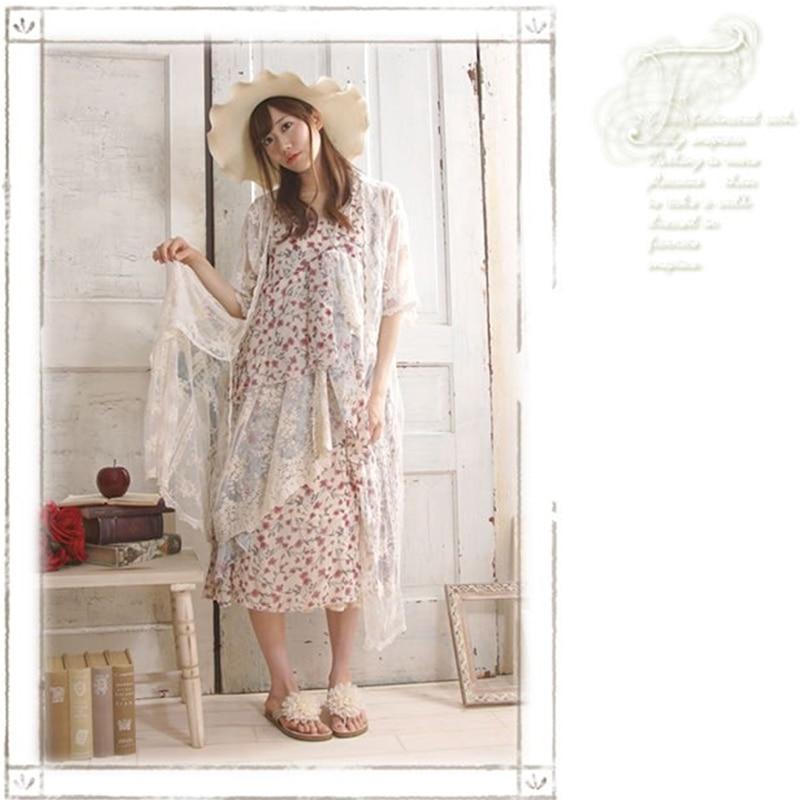 2017 japonés Mori Girl Original simple Retro Floral bordado mujeres vestido asimétrico verano suelto encaje vestido sin mangas V284-in Vestidos from Ropa de mujer    2