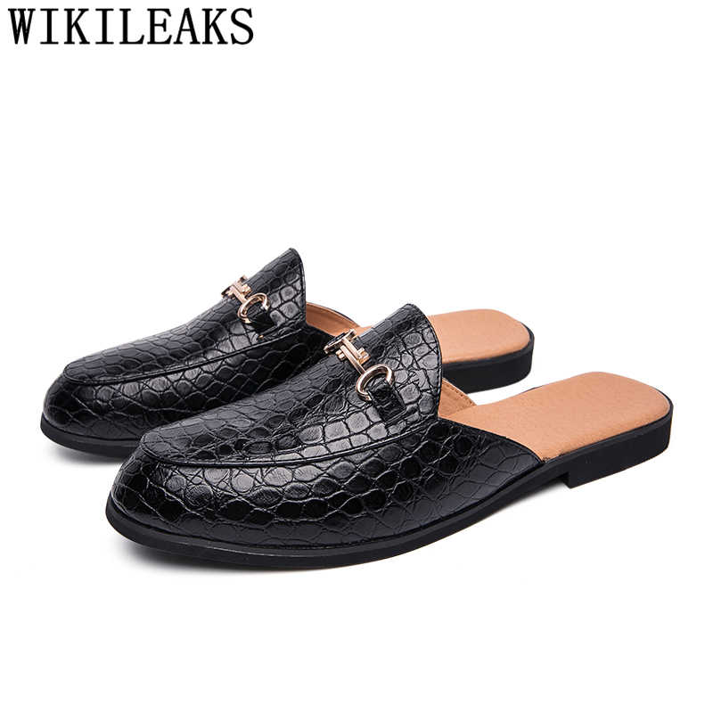 Zapatos de cocodrilo para hombre de cuero coiffeur medio zapatos para hombre zapatillas deslizantes marca diseñador italiano hombres zapatos casuales Venta caliente ayakkabi