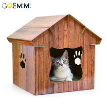 Pet Cat Kennel Wooden House Foldable scratch board Inside Dog Top Quality Bed For Cats cama para gato