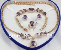 Beautiful Sets GP Purple jades Pendant Necklace Bracelet Earring Stud Ring>>> Free shipping