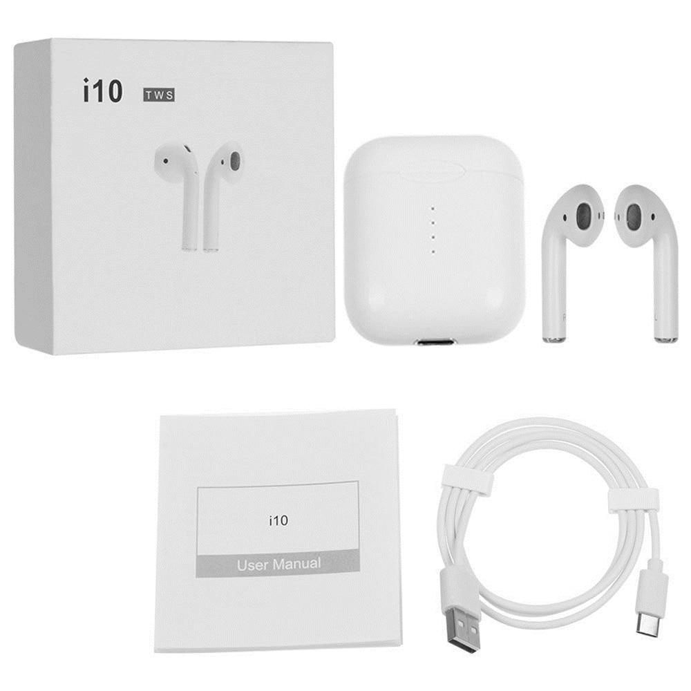I10 TWS Doppio Mini di tocco di Bluetooth Auricolari Auricolari Wireless Air baccelli Con Casella di Ricarica Mic per il iphone Samsung Xiaomi Huawei