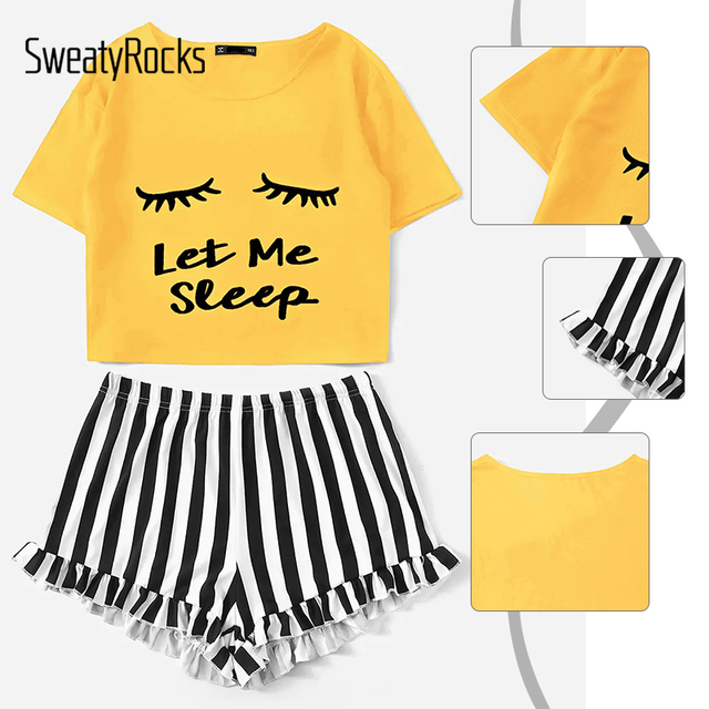 Letter Print Tee And Striped Ruffle Shorts 2