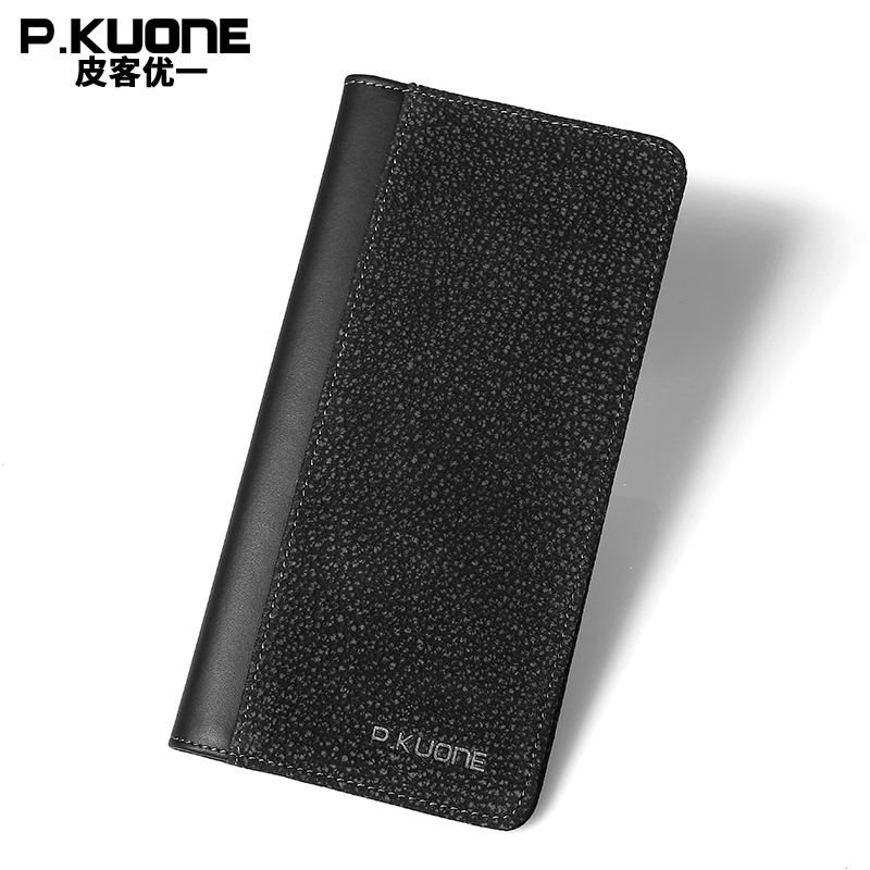 P.KUONE Softest Genuine Leather Purse Fashion Clamp Money Clip Men Small Wallet Passport Cover Card Cover Overwatch Male Wallet