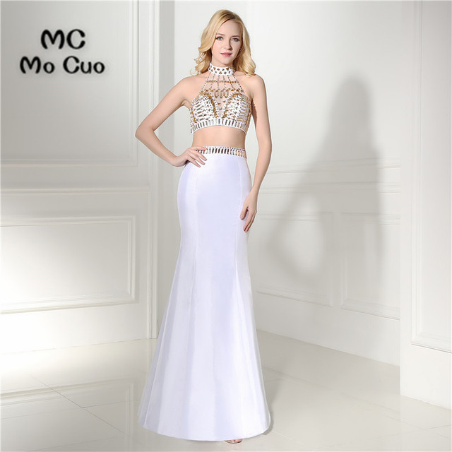 Two Pieces Gown 2017 White Prom Dresses Off Shoulder Crystals Beaded ...