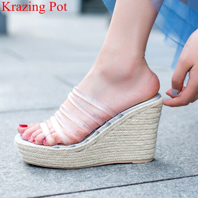 2018 superstar peep toe PVC slingback wedge women sandals slip on vacation mules high heels transparent elegant summer shoes L01 elegant slip on wedges shoes women casual chunky heel summer red blue peep toe suede 2018 high heels mules platform sandals