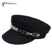 Fibonacci High Quality 2019 New Fashion Women Military Hats Rhinestone Decoration Tactical Flat Top Army Hat