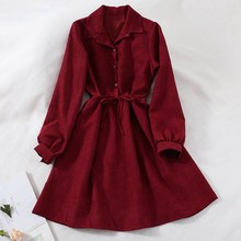 Mferlier Winter Chic A Line Dress Turn Down Collar Long Sleeve Thin Sashes High Waist Wine Red Blue Loose Vintage Shirt Dress