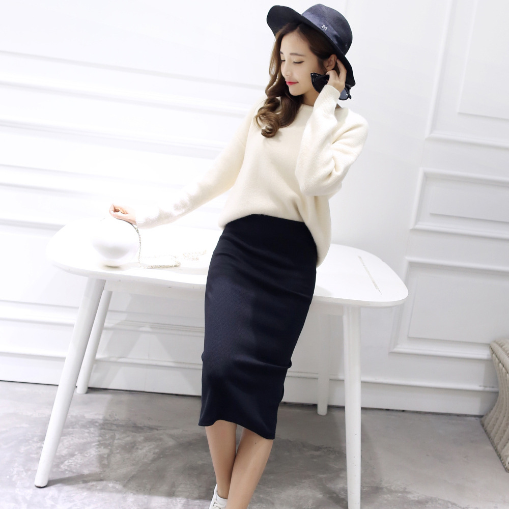 Women Female Knit Skirt 2019 Spring Summer Bodycon Skirt Women Stretchable Split Skirt Mid Calf Slim Pencil Skirts
