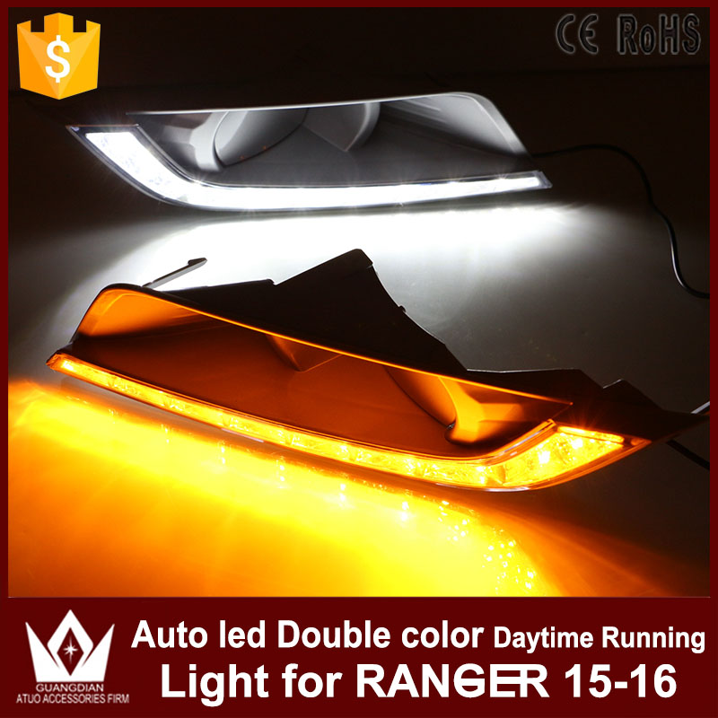 1Set Car LED Daytime Running Lights DRL Auto LED White+Yellow Fog Lamp With Yellow Turn Signals Lights For Ford Ranger 2015 2016 tcart 1 set auto led bulbs car drl daytime running lights night drl yellow turn signals lamps py21w bau15s for mazda 3 2003 2009