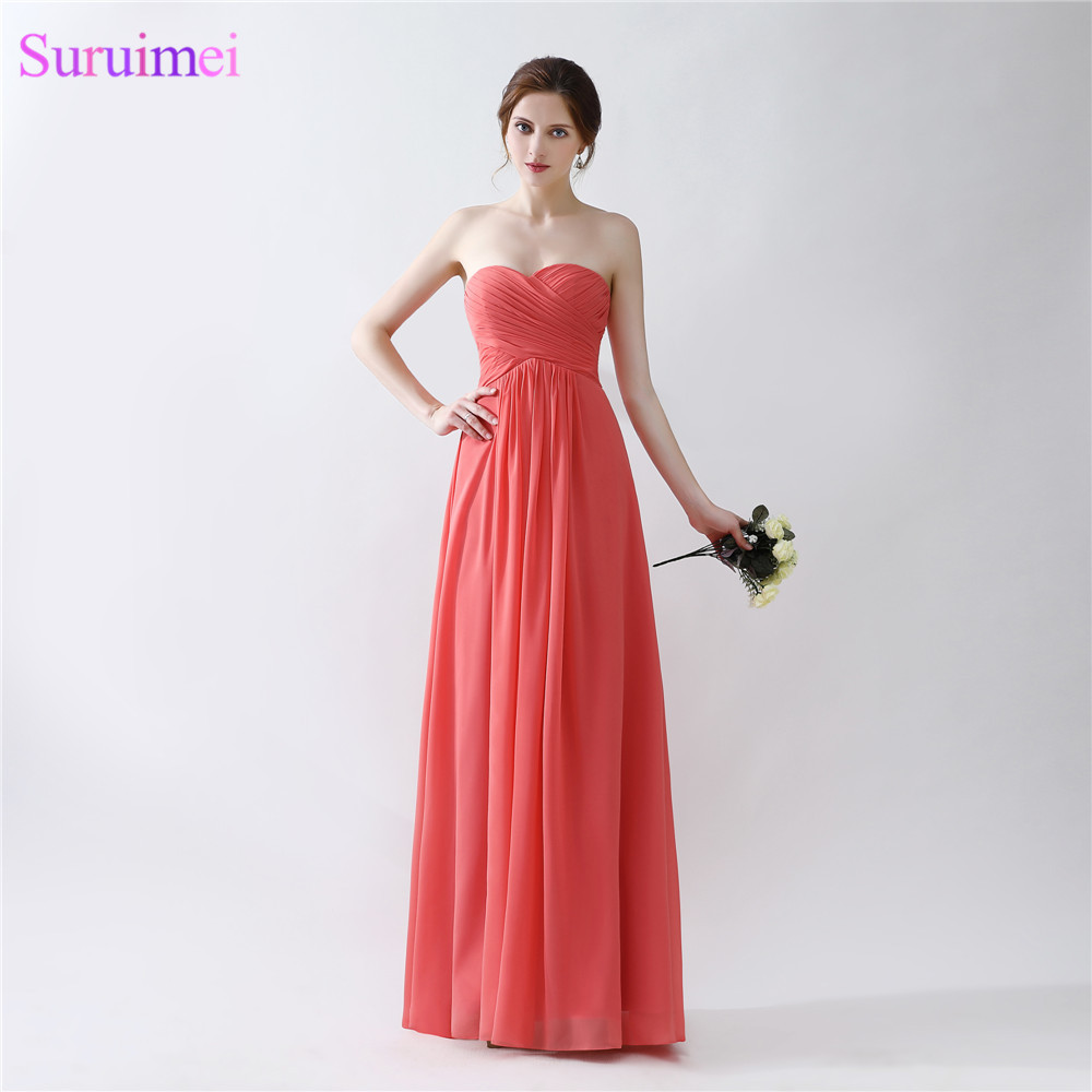 Cheap Chiffon Evening Dresses Floor Legnth Sweetheart Off The Shoulder Zippered Back Red Coral Evening Gown Girls Dresses