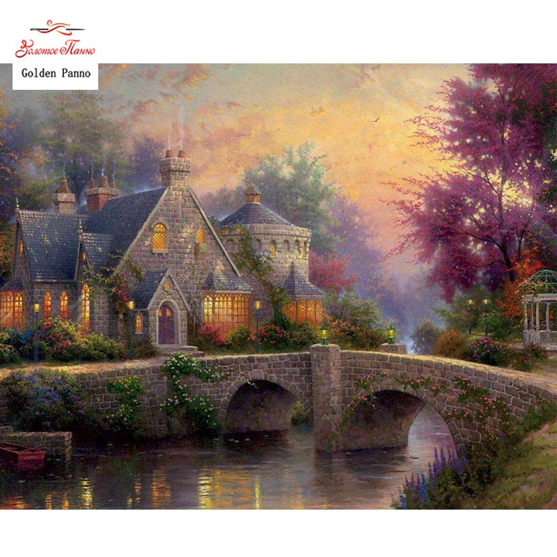Golden Panno DIY DMC 14CT 11CT DMC Hand Made Cross Stitch Kits Needlework Embroidery Wall Decoration Dusk And Houses 8