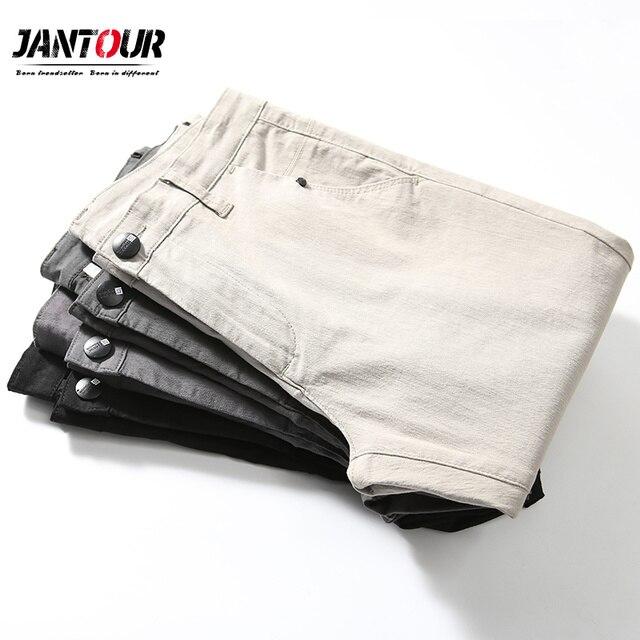 jantour 2018 New Casual Men Pants Cotton Slim Straight Trousers Fashion Business Design Solid Khaki Black Pants Men Plus Size 38 35