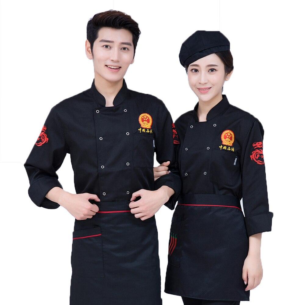 3 couleurs Chef Service Manches Longues Chef D'hôtel Travail Vêtements Automne et Hiver Veste Restaurant Occidental Uniforme de Serveur cuire Manteau