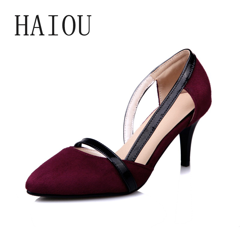 Fashion 2017 Spring Super High Heels Pumps Fashion Pointed Toe Women Lady Party Pumps Ankle Strap Shoes Wine Red Color Sandals lady red pleather point toerivets ankle strap comfortable high heels sexy pumps shoes for woman party