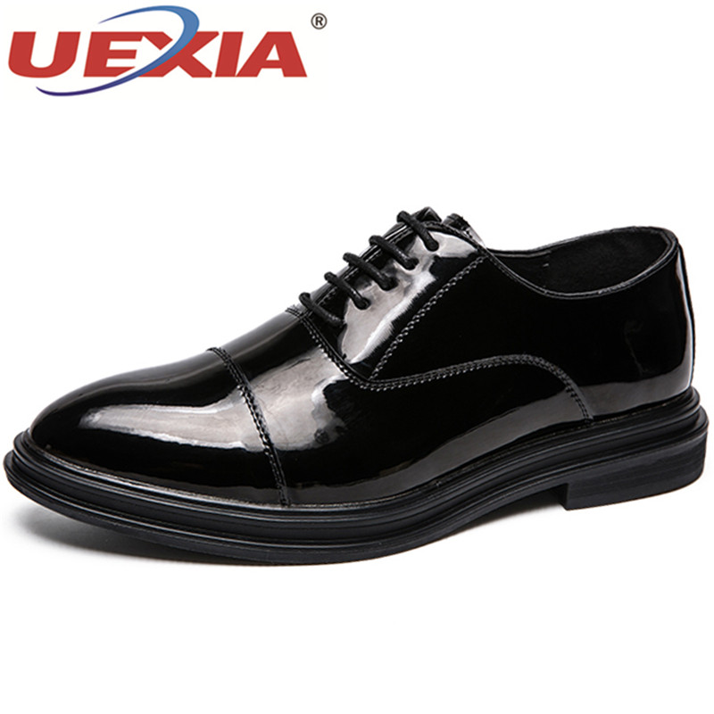 UEXIA Fashion Men Shoes Oxford Wedding Male Lace-Up Pointed Toe Solid Carved Office Leather Black/Red Formal Mens Dress Shoes