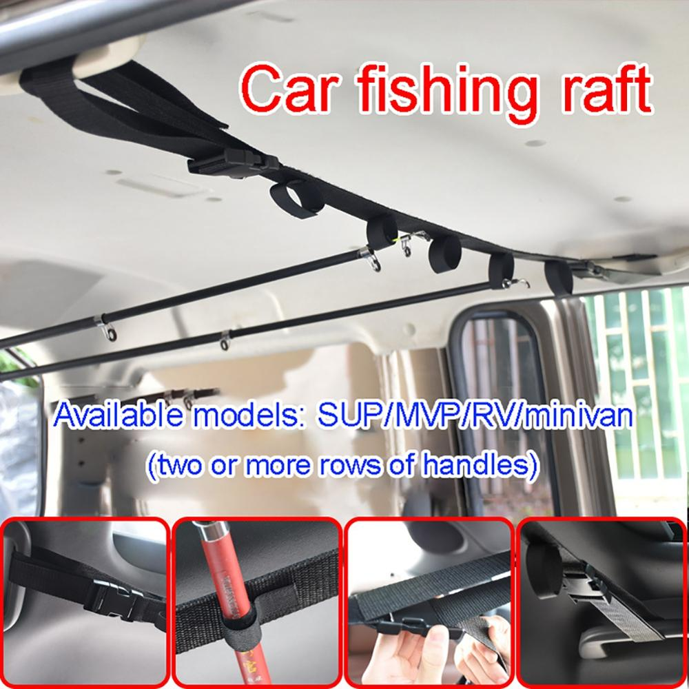 1/2pcs Fishing Tool Vehicle Rod Carrier Rod Holder Belt Strap With Tie Suspenders Wrap Fishing Tackle Boxes Tools Accessories