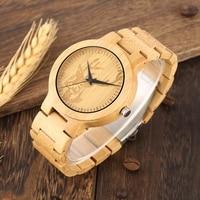 Handicraft Engraving Deer Elk Dial Watch Men's Full Wooden Wristband Casual Sport Quartz Analog Bamboo Woody Watch Gifts for Men