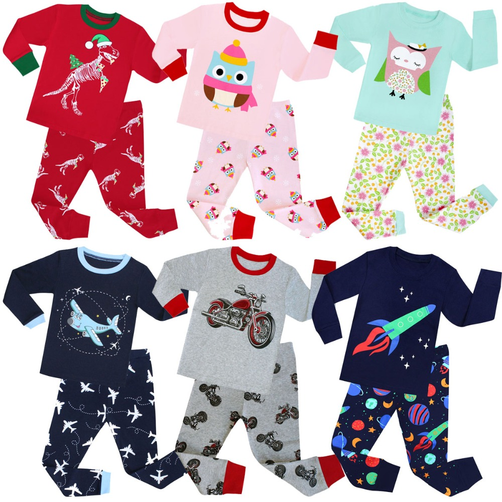 4d206bd23 100 Cotton Long Sleeved Boys Pajamas Sets Girls Christmas Pajama ...