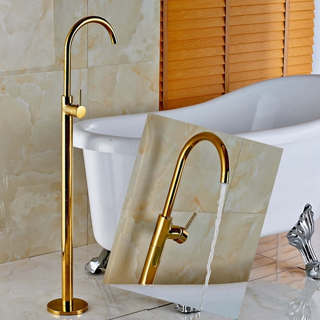 golden brass bathroom tub faucet floor mounted tub filler spout shower mixer tap