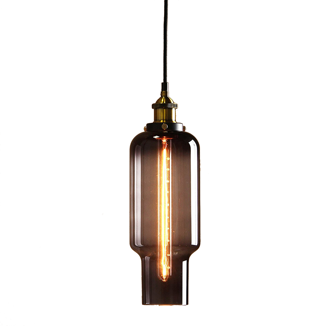 купить Vintage Industrial Metal Finish Black Gray Glass Shade Loft Pendant Lamp Retro (diameter 14cm Whistle glass shade Brass head) недорого