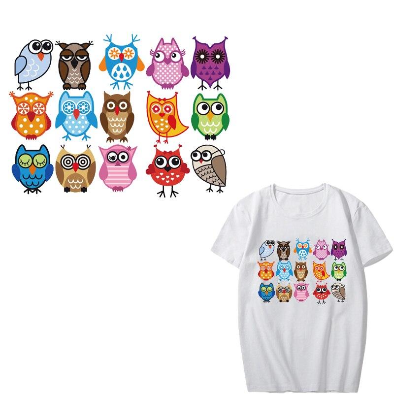 Cartoon Owls Iron-On Patch DIY T-Shirt Clothing Heat Transfer Sticker Craft