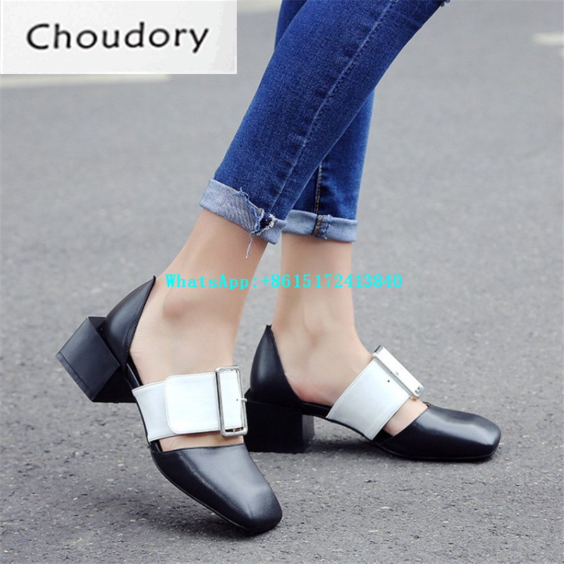 ФОТО Genuine Leather Buckle Strap Mixed Colors Med Heels Gladiator Sandals Casual Strange Style High Quality New Designer Shoes Woman
