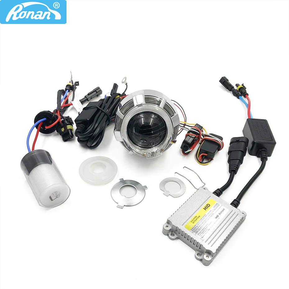RONAN 2.0Car Motorcycle Double LED Angel Eyes Bi Xenon HID Projector Lens full kit for H4 H7 car Headlight fog light RetrofitRONAN 2.0Car Motorcycle Double LED Angel Eyes Bi Xenon HID Projector Lens full kit for H4 H7 car Headlight fog light Retrofit