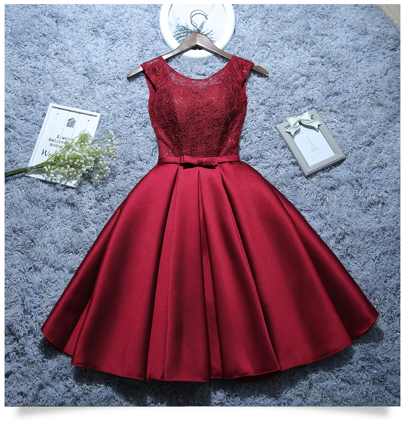 New Short Evening Dress Satin Lace Wine Red Grey A-line Bride Party Formal Dress Homecoming Graduation Dresses Robe De Soiree