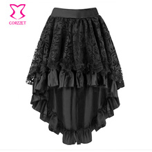 Corzzet Fashion Summer Fluffy Skirt Retro Steampunk Skirts Lace Midi Skirt Plus Size Fluffy Skirt Plus Size 6XL For Women