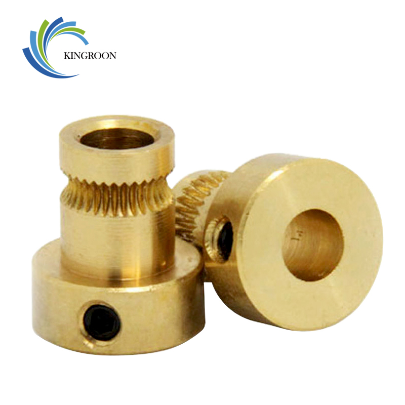 Drive Gear Copper Extruder Pulley Bore 5mm Feeder Wheel 1.75mm 3.0mm Filament Part For NEMA17 3D Printers Parts DIY Accessories