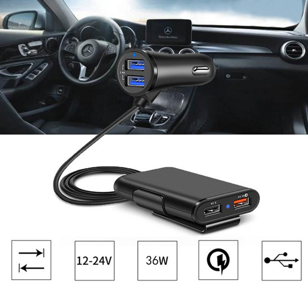 4 Ports USB QC 3.0 Car Charger with 1.7m Extension Cable with Detachable Clip For Mobile Phone Tablet GPS Car-Charger