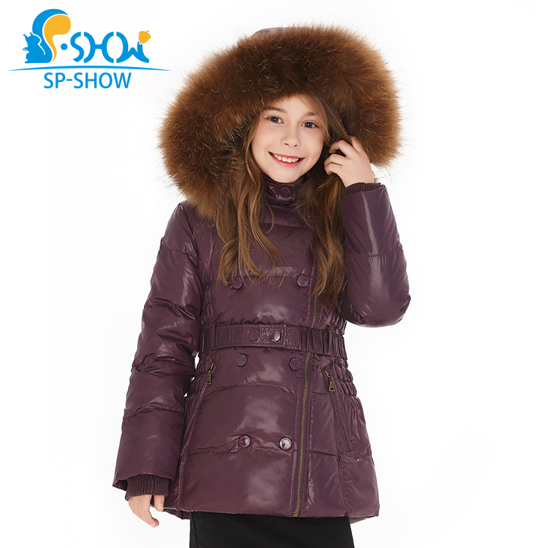 SP SHOW Luxury Brand Children Winter Coat Girls Raccoon Fur Hat Thick Fleece Hooded Jacket Down & Parkas For 6-12 Age Kids1620 цены