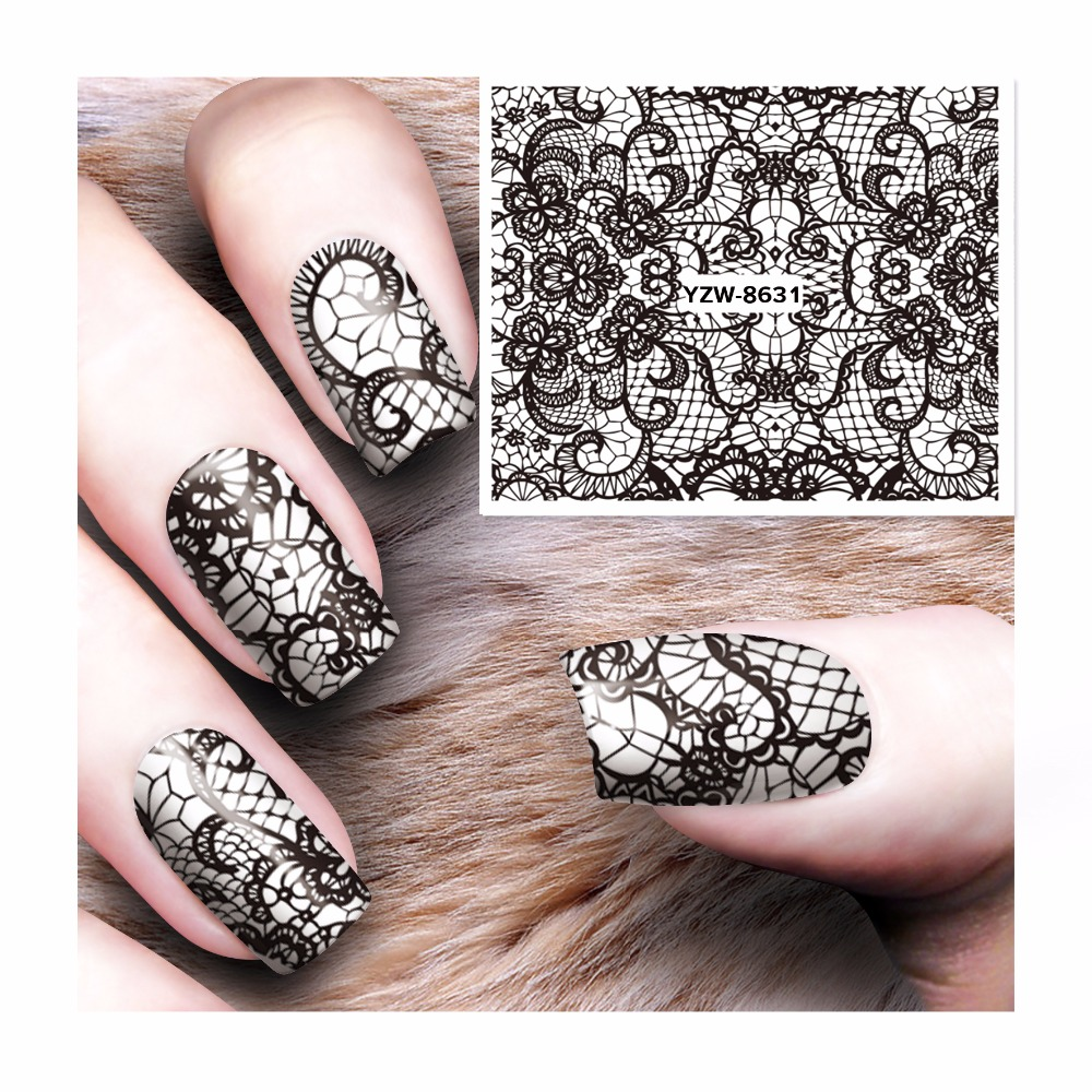 Lace Designs 1 Sheet Water Transfer Sticker Nail Art Decals Nails Wraps Temporary Tattoos Watermark Nail Tools 8631