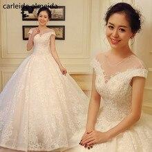 O-pescoço vestido de Baile Vestido de Noiva Bonita Do Laço de Vestido de Noiva Apliques Robe de Mariee Floor Duração Matrimonio