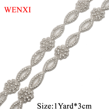 WENXI 10Yards Rhinestones Applique For Wedding Dress Clear Sliver Crystal Applique For Bride Gown Waistband Accessory WX860