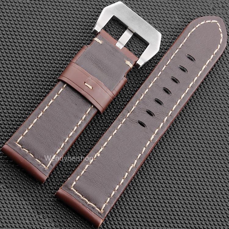 CARLYWET 22 24 26mm Schwarz Braun Echtes Leder Handgemacht Dickes - Uhrenzubehör - Foto 5