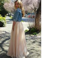 New Spring Long Tulle Skirt Empire Waistline A Line Floor Length Maxi Skirt Classic Layers Tulle