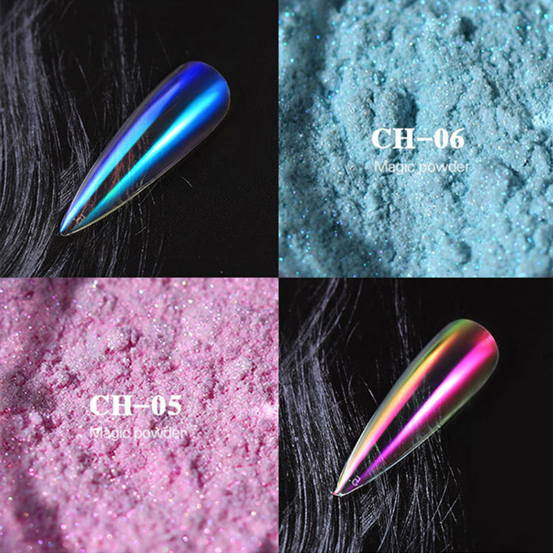 0 2g Aurora Mermaid Nail Glitter Magic Powder UV Gel Nail Dust Glitter For Nail Art Decorations Manicure Tools in Nail Glitter from Beauty Health