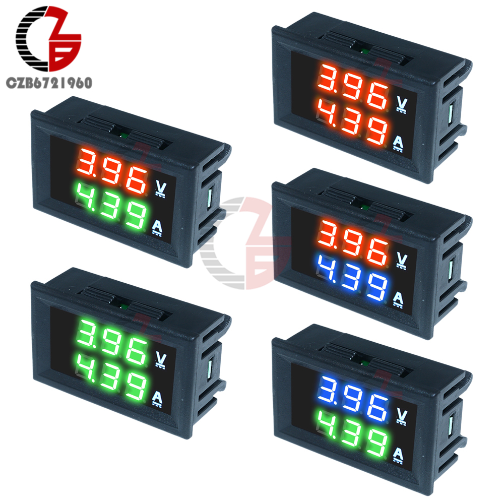 DC 100V 10A Digital Voltmeter Ammeter Car Motorcycle Voltage Current Meter Volt Amp Tester Detector Red Green Blue Dual Display