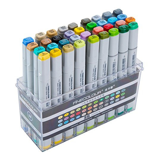 MEEDEN Finecolour Studio Markers Double Ended Markers 36 Colors Basic Marker Set Large Volume for Art Design Sketch Drawing Mang
