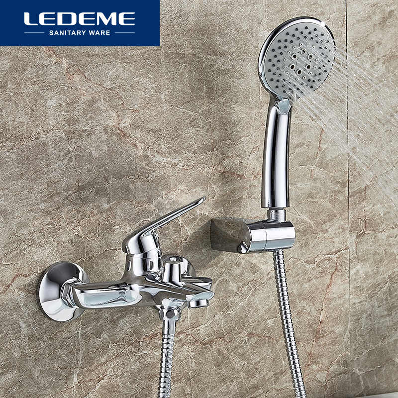 LEDEME Bathroom Bathtub Faucet Handheld Shower Chrome Finish Single Handle Tub Mixer Taps Bathtub Faucet Shower