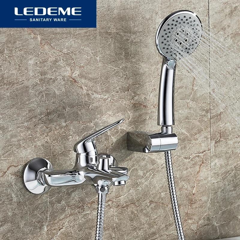 ledeme bathroom bathtub faucet handheld shower chrome finish single handle tub mixer taps bathtub faucet shower l3248