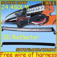 Free DHL UPS Fedex Ship 50 288W 24480LM 10 30V 6500K LED Working Bar 3D Reflector