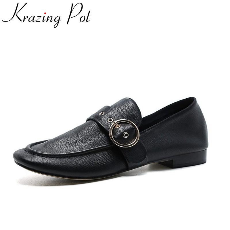 2018 krazing pot fashion flats round toe simple style soft leather slip on metal shallow casual preppy style driving shoes L59 2017 summer new fashion sexy lace ladies flats shoes womens pointed toe shallow flats shoes black slip on casual loafers t033109