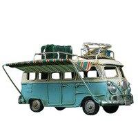 Vintage Design Flower Bus Metal Model Handmade Luggage Car Caravan Model Toy Home Desktop Decoration Girl Birthday Gift
