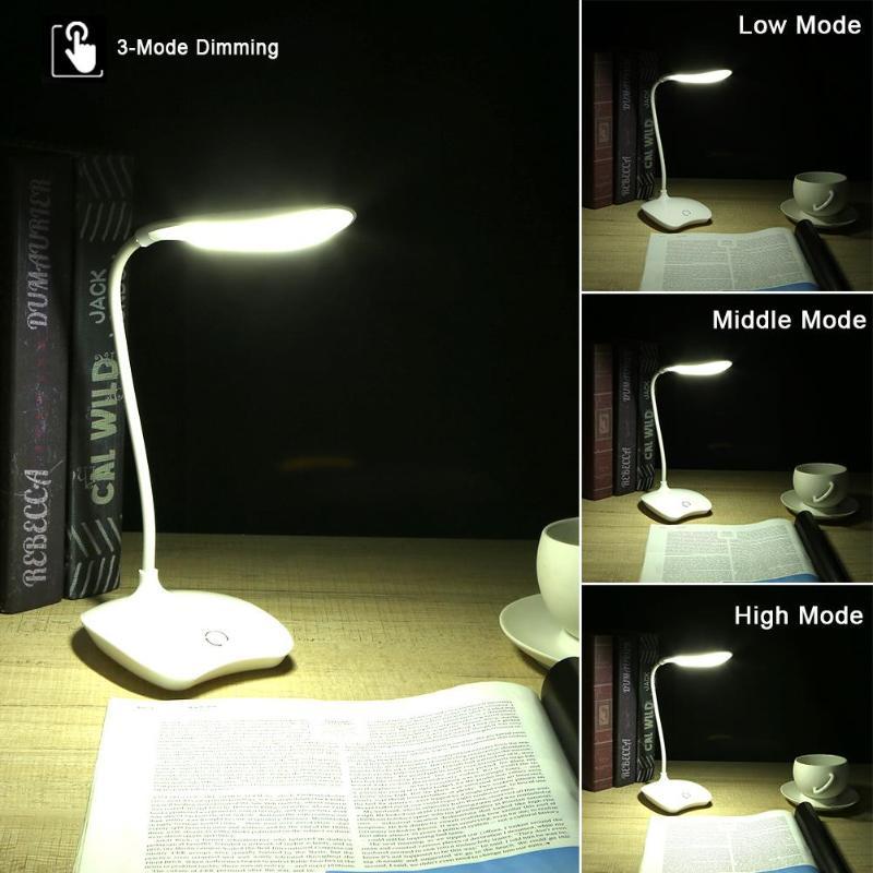 14 LED USB Charging Dimmable Reading Light Bendable Table Lamp Touch Sensor Reading Study Eye-Protection White light 3 Mode 1w 10 led 70lm white bendable usb light translucent white black