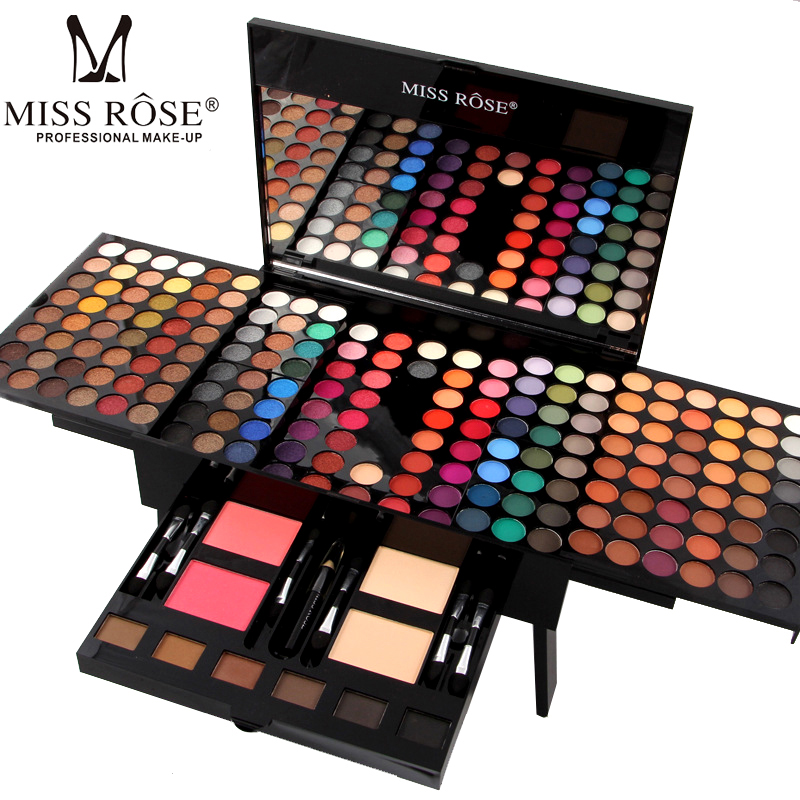 MISS ROSE 180 Colors Makeup Palette Kit Blush Eyeshadow Foundation Concealer Kits With Brushes Professional Cosmetic Make Up Set professional concealer palette 15 color makeup facial concealer camouflage cream palette 10pcs cosmetic makeup brushes set
